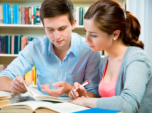 Image of tutor and student reading a book