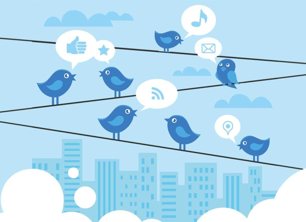 twitter birds standing on phone lines and communicating