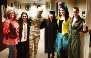 Staff dressed in halloween costumes