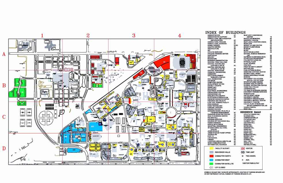 Campus Map of Texas Tech Univeristy