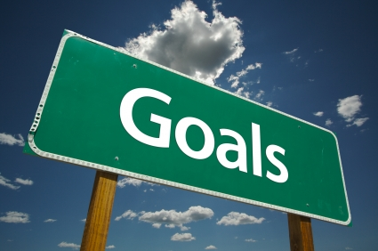 "Image of road sign that reads ""Goals"""