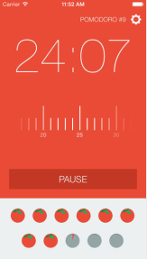 Screen Shot of Pomodoro application with 24:07 showing