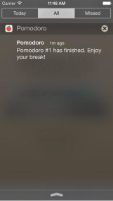 "screen shot of Pomodoro application that reads ""Pomodoro: Pomodoro #1 has finished. Enjoy your break!"""