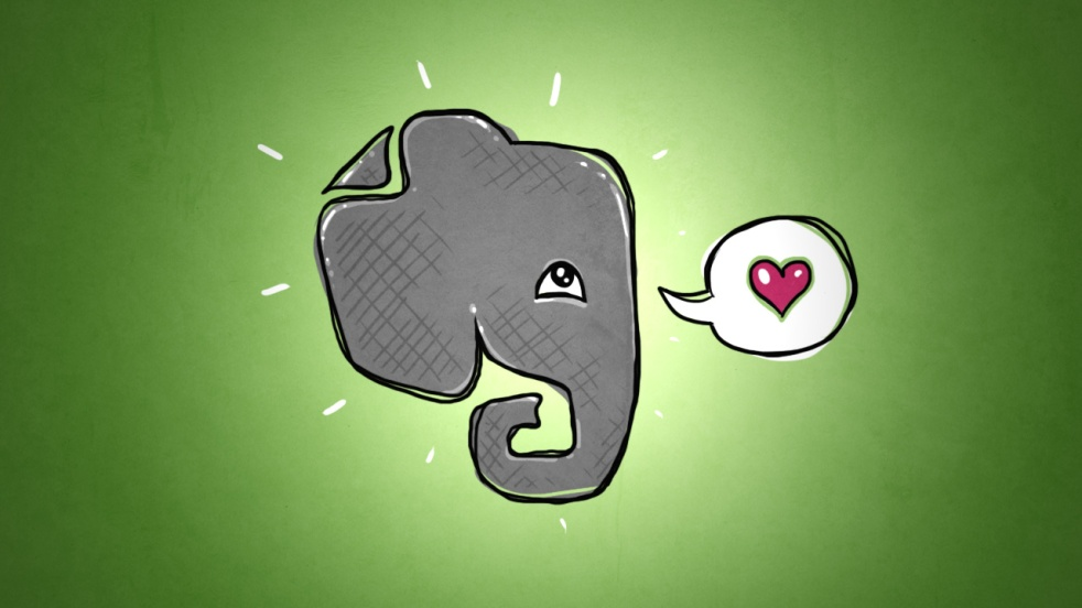 Evernote Elephant with a heart in his think bubble