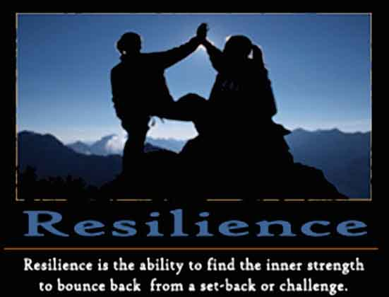 "poster with two people on the top of a mountain reading""Resilience. Resilience is the ability to find the inner strength to bounce back from a set-back or challenge"""
