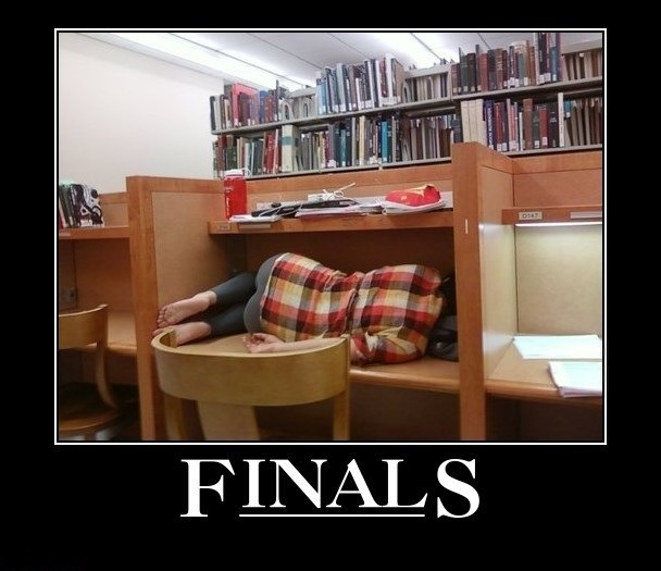 "Girl sleeping in library with text ""Finals"""