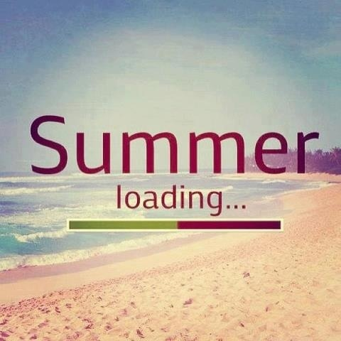 "image of beach with text ""summer"" with the loading symbol below and the text ""loading..."""