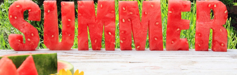 summer spelled out with watermelon