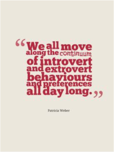 We all move along the continuum of introvert and extrovert behaviors and preferences all day long
