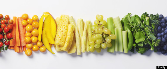 fruits and vegetables in color order like a rainbow