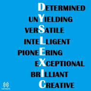 The word Dyslexic is spelled vertically while each letter is used as another letter of a word that is spelled horizontally. The horizontal words are determined, unyielding, versatile, intelligent, pioneering, exceptional, brilliant, and creative
