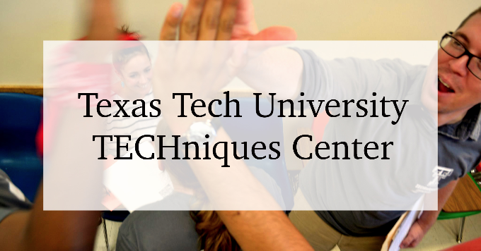 "Two students high fiving, with text that says ""Texas Tech University, TECHniques Center"""