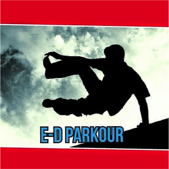 "A man leaping off a building, with the caption ""E-D Parkour"""