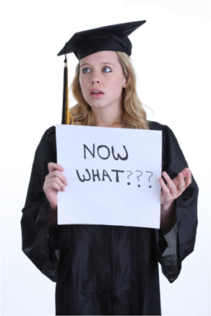 "Girl wearing graduation cap and gown holding a sign that says, ""Now What???"""