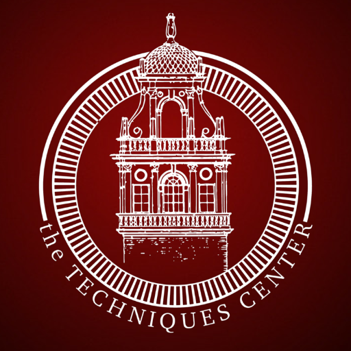The logo of the TECHniques Center; the bell tower at Texas Tech is pictured