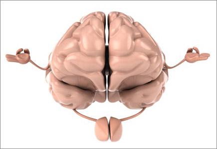 a cartoon brain doing yoga