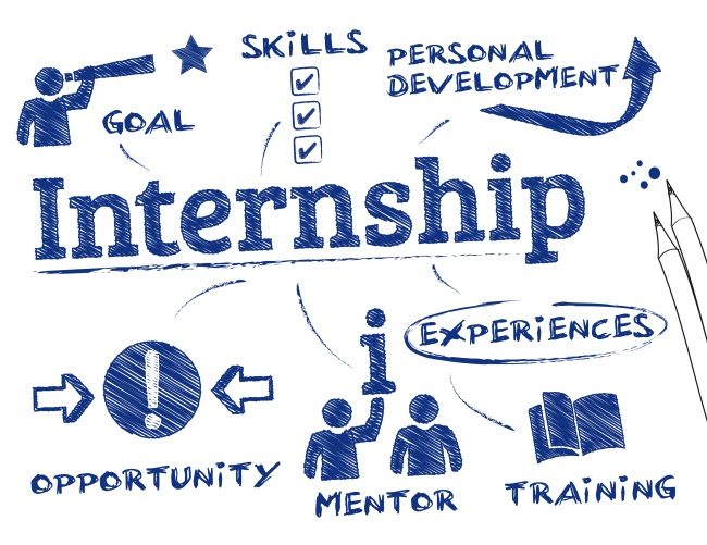 A graphic showing the benefits of internships (personal and professional development).
