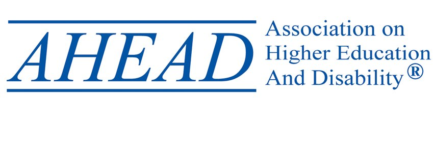 "The words ""AHEAD, Association on Higher Education and Disability"""