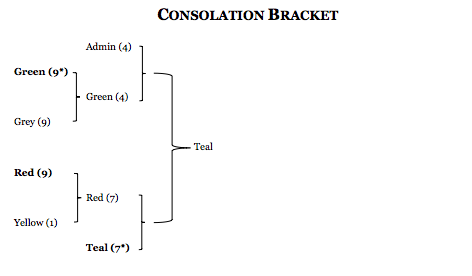 A bracket that shows Team Teal winning the consolation bracket