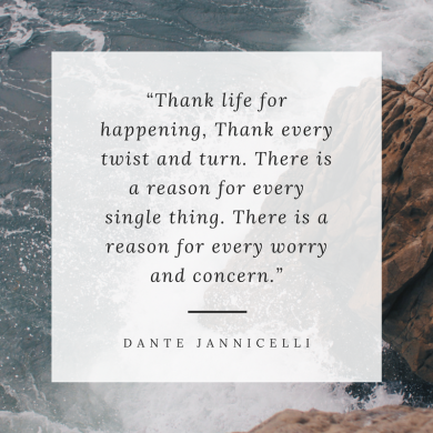 "A river crashing against rocks with a quote overlaid that reads ""Thank life for happening, thank every twist and turn. There is a reason for every single thing. There is a reason for every worry and concern"" by Dante Jannicelli"