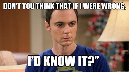 "A meme of Sheldon Cooper (from ""The Big Bang Theory"") with the words ""Don't you think that if I were wrong, I'd know it?"""