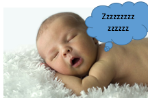 "A newborn baby sleeps, with ""Zzzz"" in a cloud bubble above his head."