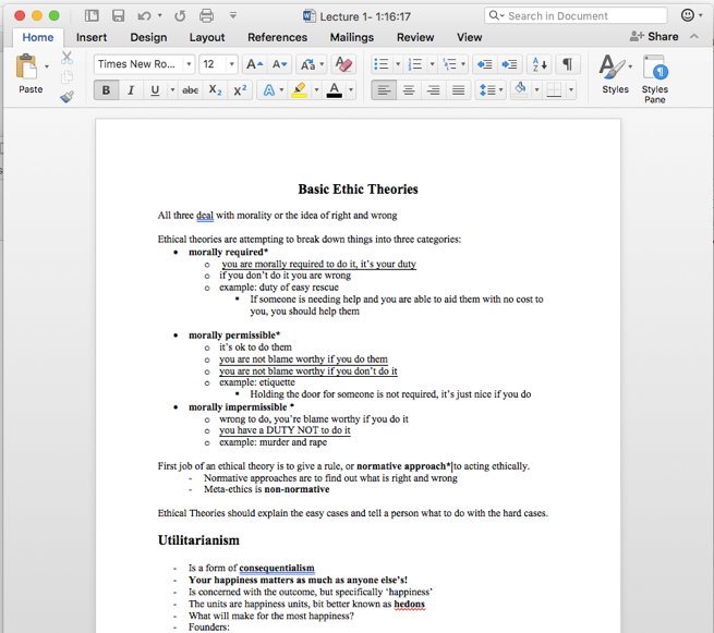 A screenshot of notes from a class, typed up in a word document