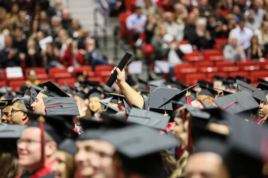 A photo of a graduation at Texas Tech University