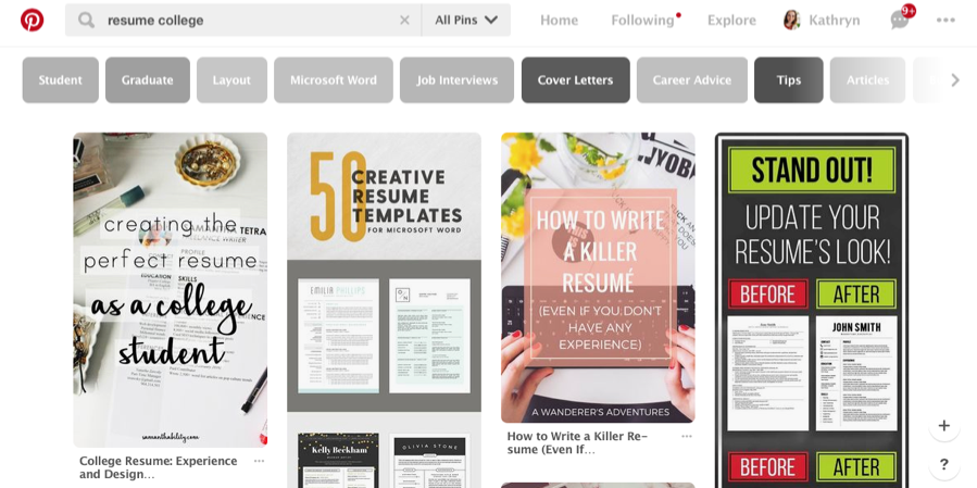 A screenshot of a pinterest board, with a variety of topics.