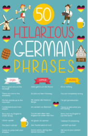 """A graphic entitled """"50 Hilarious German Phrases"""